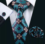 Men's Silk Coordinated Tie Set - Blue Toned Decorative