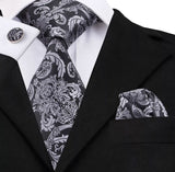 Men's Silk Coordinated Tie Set - Silver & Black Paisley