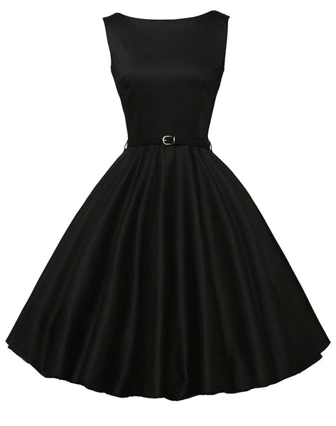 Vintage Inspired Inspired Dress with Belt, Sizes XSmall - 22W (Black)