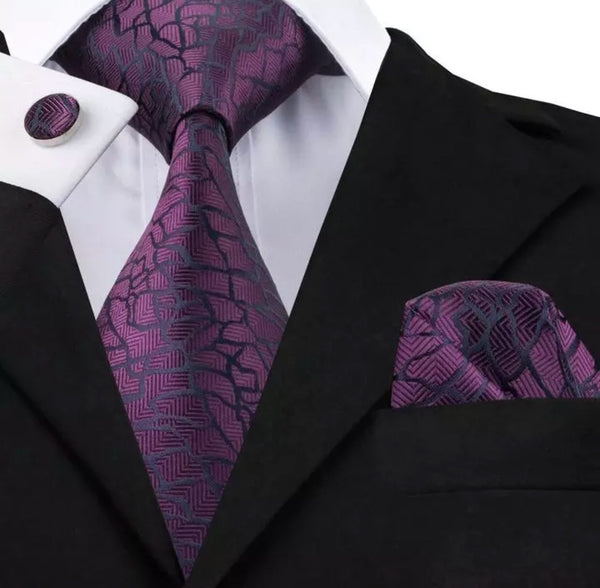 Men's Silk Coordinated Tie Set - Purple Brick