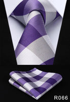 Men's Silk Coordinated Tie Set - Purple White Checkered