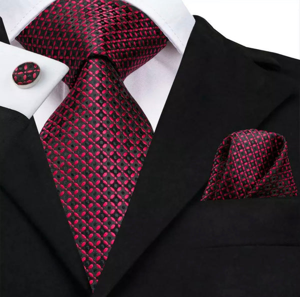 EXTRA LONG Men's Silk Coordinated Tie Set - Red and Black Check