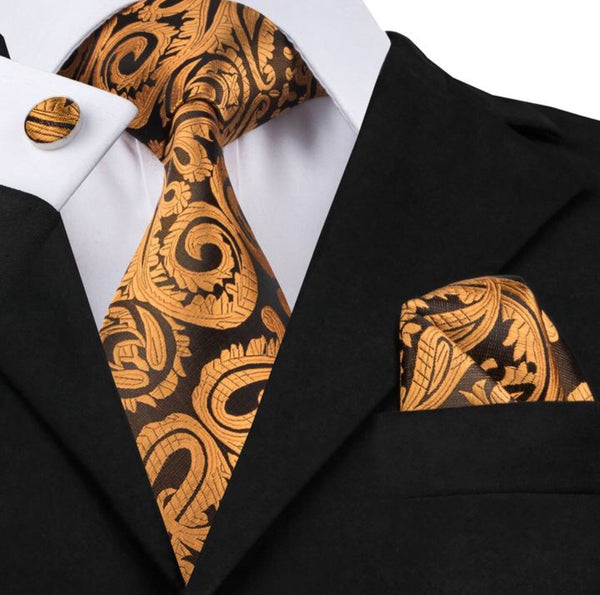 Men's Silk Coordinated Tie Set - Traditional Gold Paisley