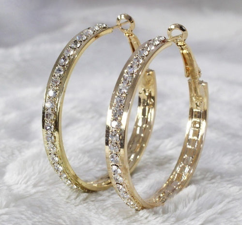 "Gold Filled Rhinestone Hoop Earrings, 2"" Diameter"