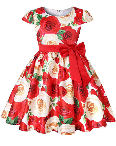 Little Girl's Red Floral Bow-Tie Party Dress, Sizes 2T - 14 years