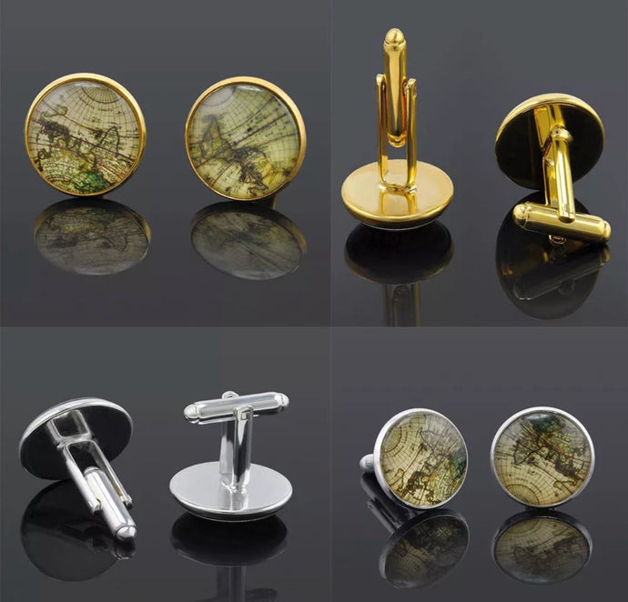 Vintage World Map Cufflinks - Silver or Gold
