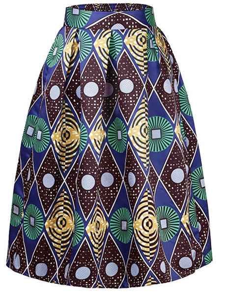 Women's African Print Flare Skirts With Pockets, Green Blue Yellow