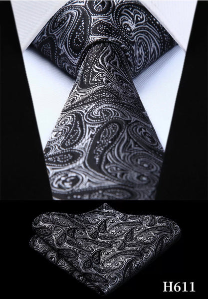 Men's Silk Coordinated Tie Set - Gray Black Paisley