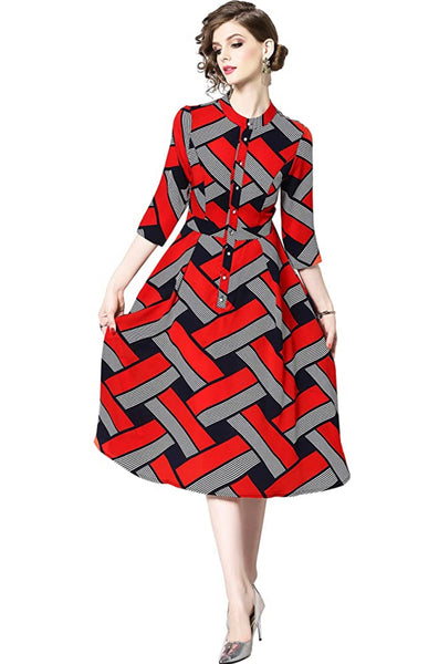 Elegant Red and Black Button-Up Dress, US Petite Sizes 2 - 12