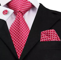 Men's Silk Tie Set - Red & White Check
