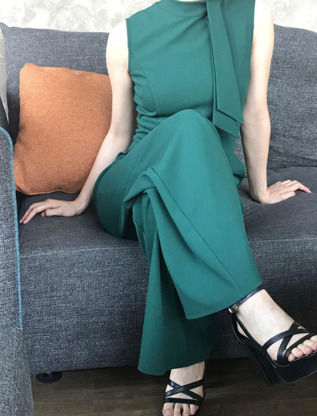 Retro Inspired Half Collar Jump Suit, US Sizes 4 - 16 (Green)