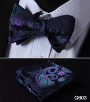 Men's Silk Bow Tie Set - Purple Paisley