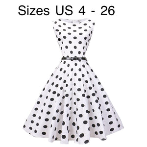 Tea Length Cocktail Dress, White with Large Black Polka Dots, US Sizes 4 - 26