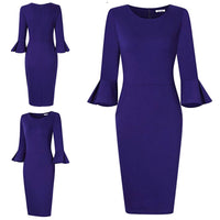 Bell Sleeve Pencil Dress, Sizes Small - 2XLarge