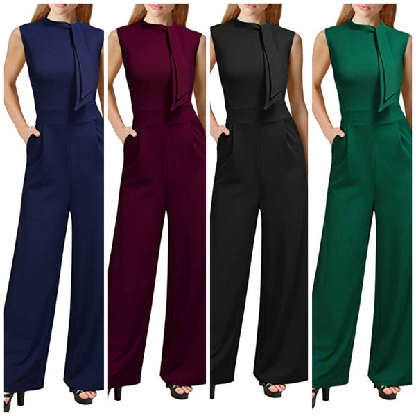 Retro Half Collar Bow Casual Jumpsuits, Sizes Small - XLarge (US 4 - 18)