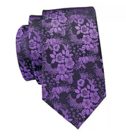 Men's Silk Coordinated Tie Set, Purple Black Paisley