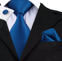 Men's Silk Coordinated Tie Set - Navy Blue Silk
