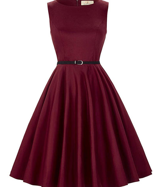 Boatneck Sleeveless Vintage Inspired Dress with Belt, Sizes XSmall - 22W
