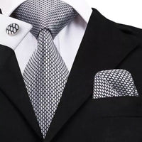 Men's Silk Coordinated Tie Set - Silver Black