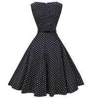 Tea Length Cocktail Dress, Black with small White Polka Dots, US Sizes 4 - 26