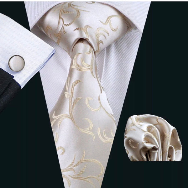 Men's Silk Coordinated Tie Set - Ivory Paisley