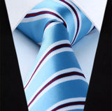 Men's Silk Coordinated Tie Set - Blue Burgundy Striped