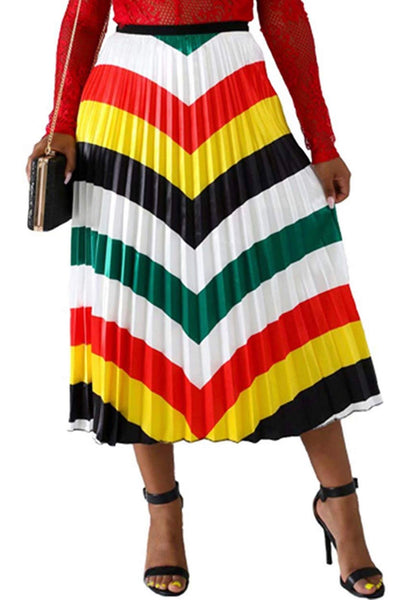 Pleated Striped Print Skirt, Sizes Small - 3XLarge
