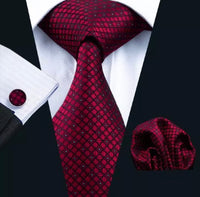 Men's Silk Coordinated Tie Set - Red Plaid Checks