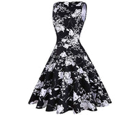 Vintage Inspired Cocktail Dress - Black Floral, Sizes Small - 2XLarge