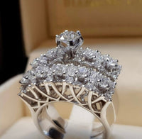 Beautiful Silver Plated Cubic Zirconium Ring Set, US Size 8