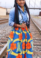 Women's African Print Knee Length Flare Skirts With Pockets, Orange Blue Floral