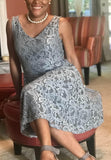 Floral Lace V-Neck Dress, Sizes XSmall - 3XLarge