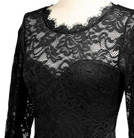 Long Black Lace Patterned Dress, Sizes Small - 2XLarge (US 4 - 18)