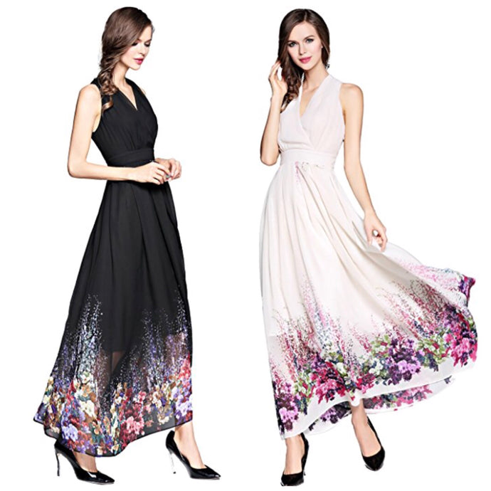 V-Neck Floral Chiffon Dress, US Sizes 4 - 20 (Medium - XLarge)