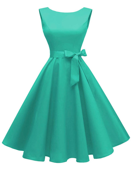 Boatneck Sleeveless Retro Inspired Dress, Sizes XSmall - 3XLarge (US Size 0 - 18W)Tiffany Blue