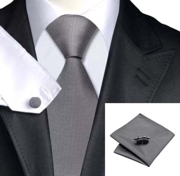 Men's Silk Coordinated Tie Set - Solid Gray