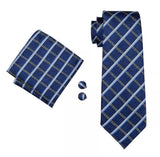 Men's Silk Coordinated Tie Set - Blue Checkered Stripe