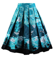 A-Line Printed Pleated Flared Midi Skirts, Dark Night, Sizes Small - 3XLarge