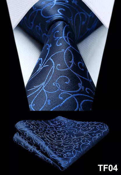 Men's Silk Coordinated Tie Set - Blue Swirl