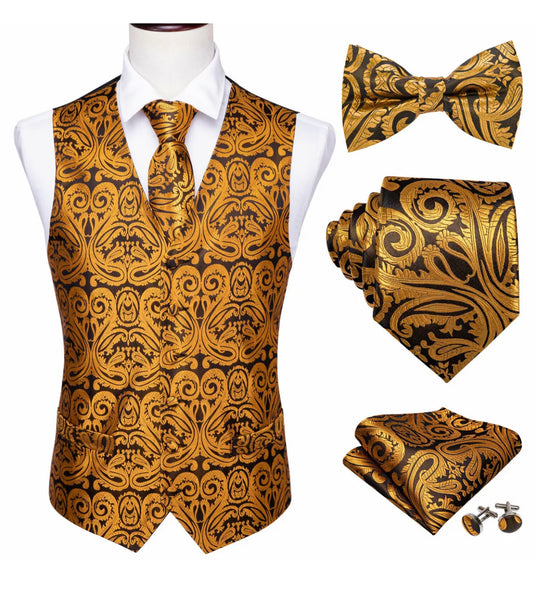 Coordinated Waistcoat, Tie, Bow Tie, Cufflinks & Pocket Square - Silk (Yellow Gold)