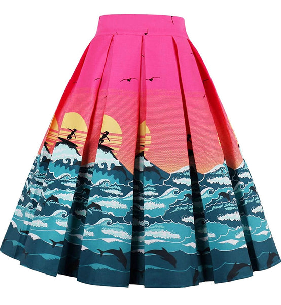 A-Line Pleated Printed Skirts, Beach Horizon, Sizes XSmall - 3XLarge