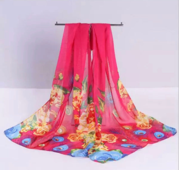 Lovely Floral Chiffon Scarf - Floral Hot Pink