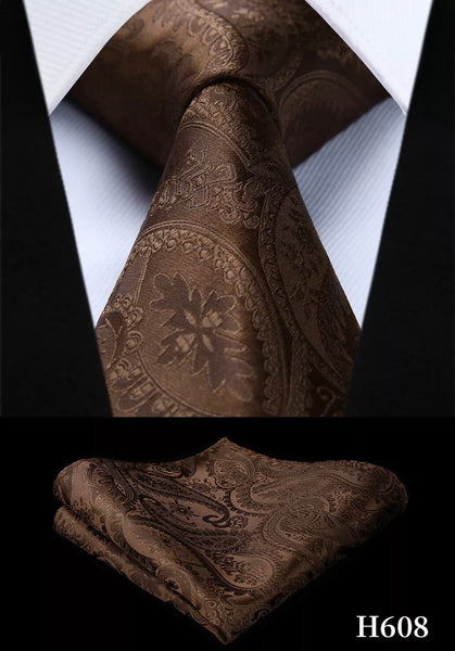 Men's Silk Coordinated Tie Set - Chocolate Brown Paisley