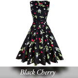 Vintage Inspired Cocktail Dress, Black Cherry