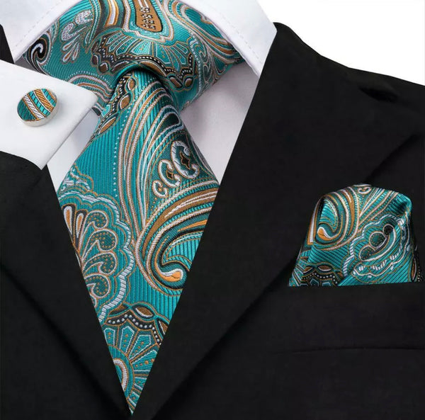 EXTRA LONG Men's Silk Coordinated Tie Set - Sea Green Gold Paisley