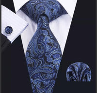 Men's Silk Coordinated Tie Sets- British Blue Paisley