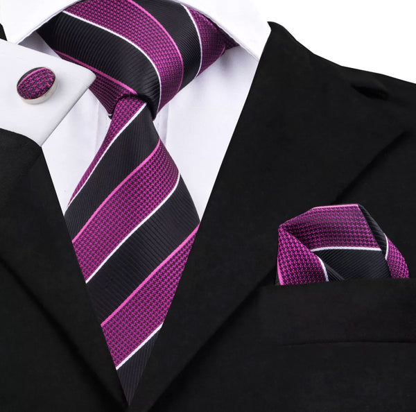 Men's Silk Coordinated Tie Set - Black Purple Stripe