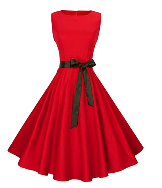 Audrey Hepburn Inspired Swing Dress, US Sizes 0 - 18W, Red