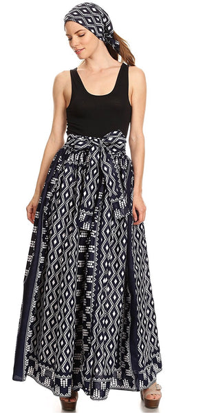 Asma Convertible Traditional Wax Print Adjustable Strap Skirt, Black