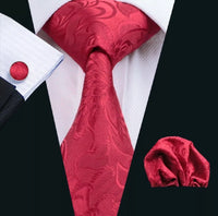 Men's Silk Coordinated Tie Set - Solid Red Floral